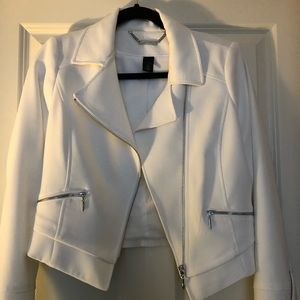White House Black Market White Moto Jacket